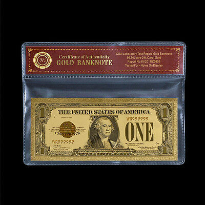 WR 1928 Gold Certificate US Dollar Bill $1 Gold Foil Plated Banknote In Sleeve