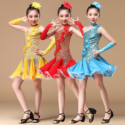 AD00994# Kids Girls Latin Dance Sequins (Dress, Arm Sleeve) 3 Colors