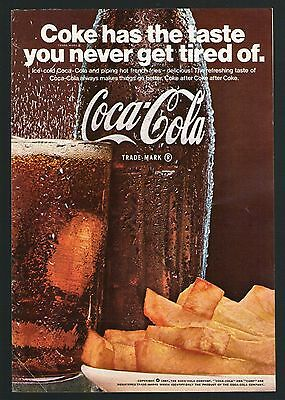 1967 Coca Cola Soda Pop Ad~Coke Bottle~French Fries~Print Promo