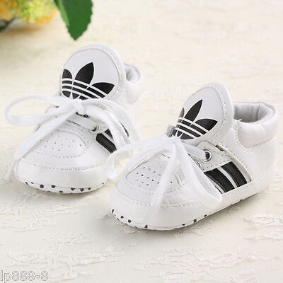 White Baby Shoes Boy Girl Soft Sole Sneaker Crib Shoes Size For 3-18month