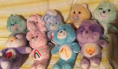 "Lot of 9 Vintage Kenner Care Bears 13"" Plush lot Cousins Elephant Penguin Bunny"