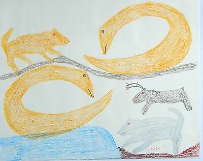 Original Inuit Art Pastel Coloured SWAN Drawing by Sarah Iquliq, ~16x22, signed