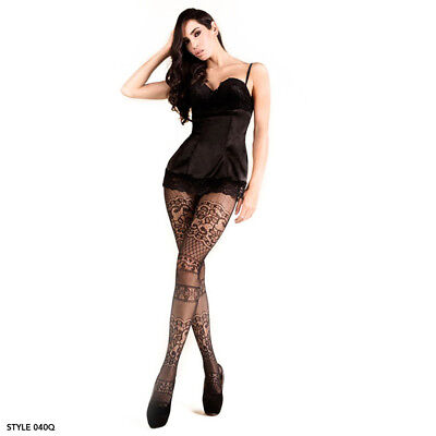 Womens One / Plus Size Intarsia Lace Black Pantyhose Thigh High Fishnet Tights