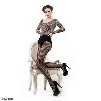 Womens One / Plus Size Bold Chevrons Black Pantyhose Thigh High Fishnet Tights