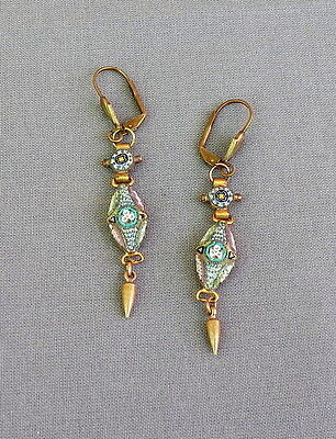 Vintage Victorian Style Floral Drop Dangle Fine Micro Mosaic Pierced Earrings
