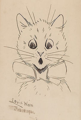 """Louis Wain """"[Cat In Bowtie]"""" 1901 ink drawing SIGNED AND DATED BY WAIN. Scarce."""