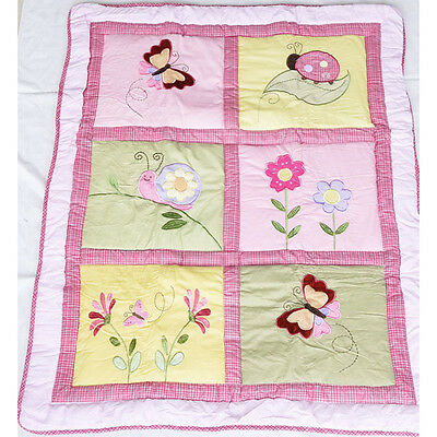 New Baby Cot Quilt Bedding Cotton Patchwork Blanket Butterfly Comforter