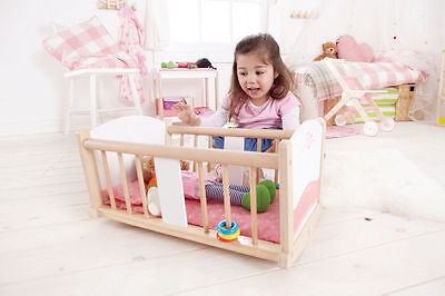 Rock-a-bye Baby Cradle by Hape | Kids Childrens Wooden Playsets Dolls