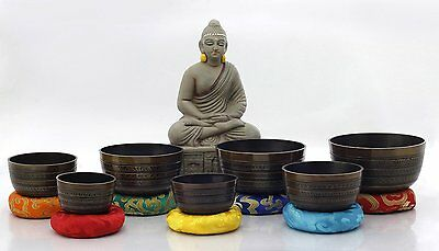 Chakra Healing Tibetan Singing Bowl Brown 7 Sets of Meditation Bowls by NHZ