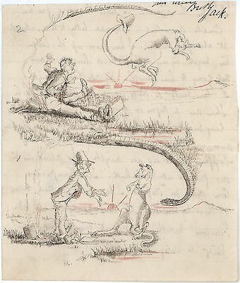 'A Bush Encounter With Kangaroos & Brumbies' c1890s original letter w sketches