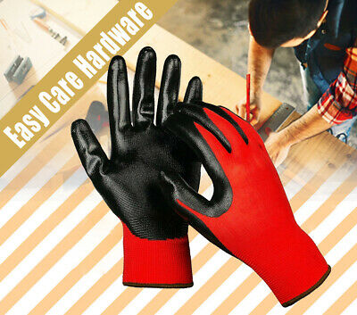 Nylon Nitrile Coated New Safety Work Gloves Glove Garden Grip Men red