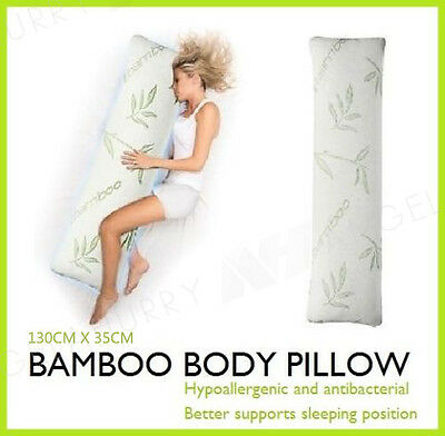 BAMBOO BODY PILLOW SUPPORT LARGE LONG NATURAL ANTIBACTERIAL NEW 130cm x 35cm
