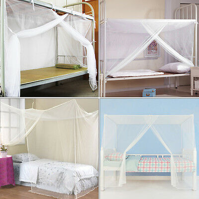 New White Four Corner Post Student Canopy Bed Mosquito Net Twin Queen King Size