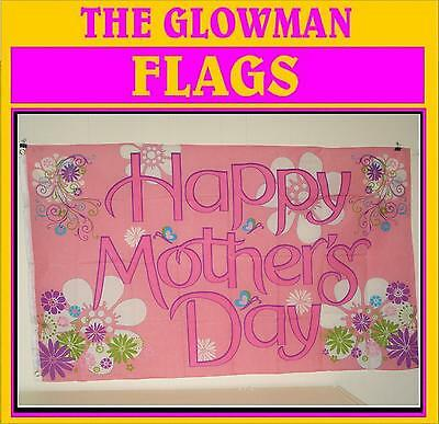Happy Mothers Day flag pink with flowers mum mums flag