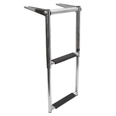 Boat Ladder 2 Step Telescoping Swim Marine  Stainless with Built in Handle -AM