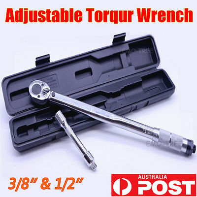 "3PCS Adjustable Click Torque Wrench Ratchet Drive Micrometer Spanner 1/2"" & 3/8"""