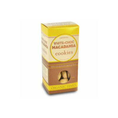 NEW  ORGANIC TIMES White Chocolate Macadamia Cookies 150g