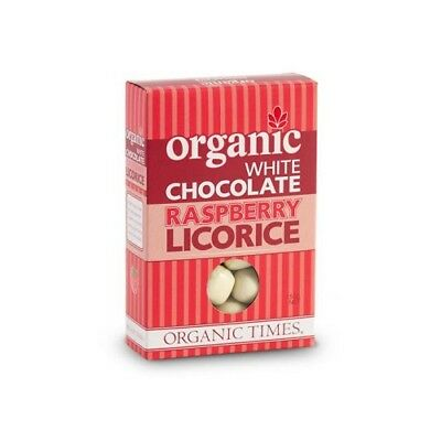 NEW  ORGANIC TIMES White Chocolate Raspberry Licorice 150g