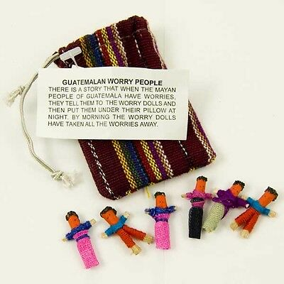 Worry Dolls Guatemalan Mayan Mini People Set Of Six In Coloured Pouch Hand Made