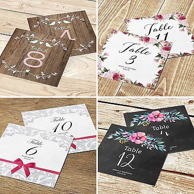 Personalised Table Number or Name Cards for Wedding