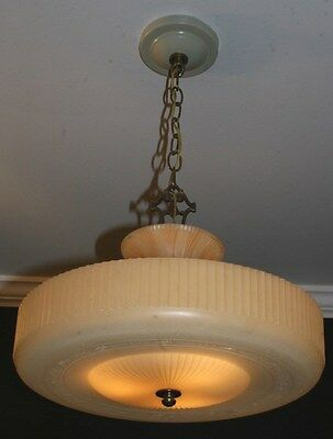 Antique caramel beige glass art deco light fixture ceiling chandelier 1940s
