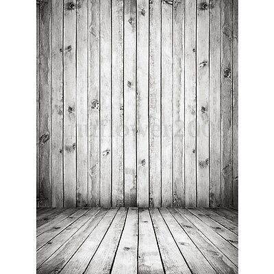 5x7FT Vinyl White Wood Wall Floor Photography Backdrop Studio Photo Background