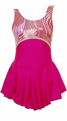 Skating Dress -CERISE LYCRA / MULTI HOLOGRAM NO SLEEVE ALL SIZES AVAILABLE