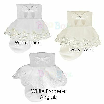 Baby Girls & Girls Special Occasion Christening Frilly Ankle Socks UK NB-6 Years