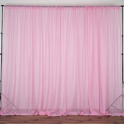 Pink 10x10' Sheer Voile Professional BACKDROP Curtain Photobooth Wedding Party
