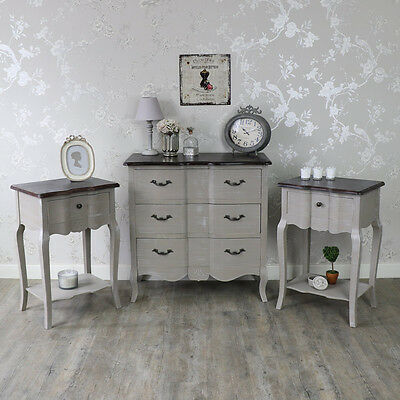 Grey Chest of Drawers and Pair of Bedsides French Vintage Chic Shabby Bedroom