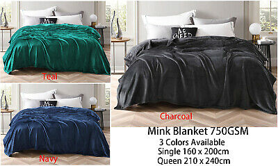 Luxury Mink Blanket Throw Rug 720GSM Colour Choices in Single &  Queen Size Bed