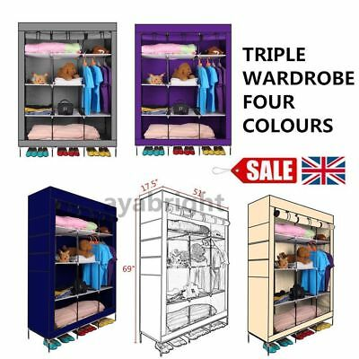 Triple Multiple Canvas Home Wardrobe Cupboard Hanging Rail Clothes Shoes Srorage