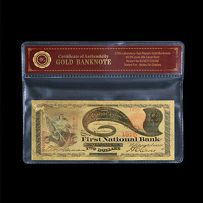 WR 1875 Two Dollars First National Bank Color Gold US Banknote In COA Sleeve