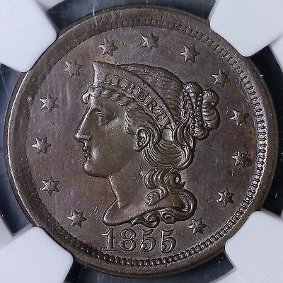 1855 Upright 5 Large Cent NGC MS62 BN 1-1NCM