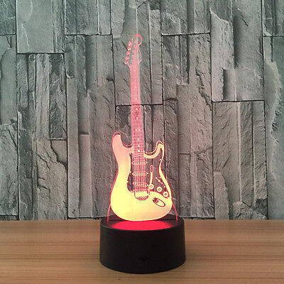 Guitar 3D LED Night Light 7 Color Changing Touch Switch Table Desk Lamp