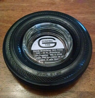 *Vintage* General Tire Rubber Ashtray Dual S 90 Los Angeles MA Advertising (VG+)