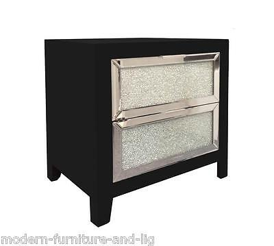 Black Wood Bedside Chest Of 2 Drawers With Mirrored Mosaic Front