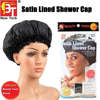 Beauty Town Waterproof Satin Shower Cap Luxury Elastic Thick Bath Hat