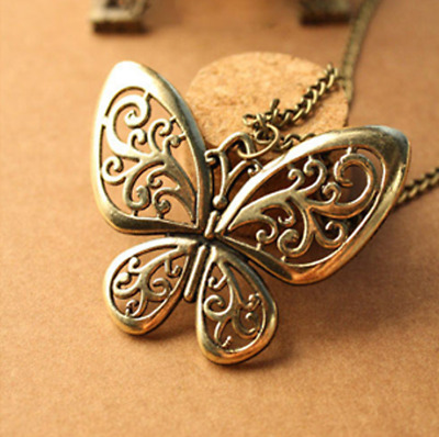 Vintage Bronze Butterfly Animal Dress Long Sweater Chain Necklace Charm Ornament