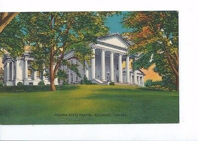 Vintage Postcard Linen  Virginia State Capitol Richmond    Va