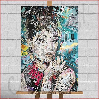 Audrey Hepburn Framed Box Canvas Print Picture A1 30x20 Photo Montage Collage
