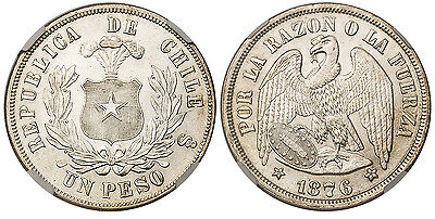 CHILE. 1876 AR Peso. NGC MS63. KM 142.1. Struck by law of October 21, 1865.