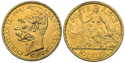 DANISH WEST INDIES Christian IX 1904-P GJ AV 10 Daler, 50 Francs PCGS AU58 Fr 1.