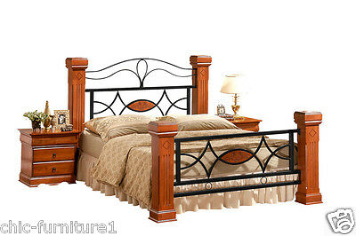 4FT6 Double 5FT Kingsize Omega Wooden & Metal Four Poster Sleigh Bed