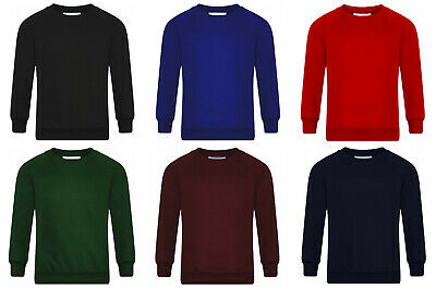 Boys Jumper Sweatshirt Crew Round Neck School Uniform PE 1-14 Years