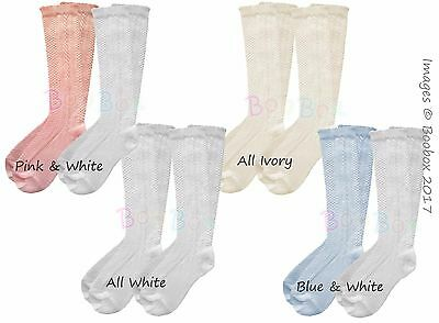 Girls & Boys 3/4 Knee High Spanish Style Pex 2 Pk Socks UK Sz NB(EU15)-12(EU30)