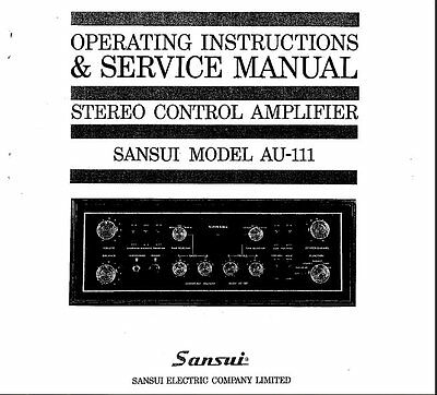 Sansui Au-111 St Cntrl Amp Operating Instructions And Service Manual Printed Eng