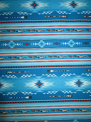 Navajo Native American Feather Arrow Blue Red Blk Print Cotton Fabric FQ