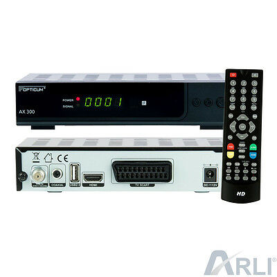 HD Digital Sat Receiver OPTICUM AX300 plus Scart HDMI DVB-S2 1080p S60 HDTV 12V