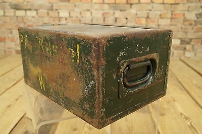 Vintage Metall Box Munitionskiste Industrie Design Kasten Factory Werkstatt Loft